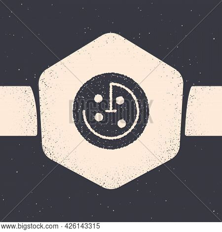 Grunge Radar With Targets On Monitor In Searching Icon Isolated On Grey Background. Search System. N