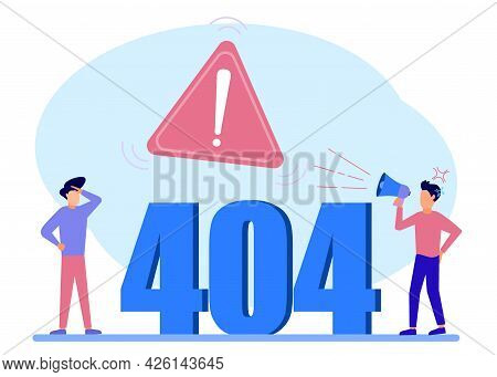 Vector Illustration Of Business Concept, Error 404, Freeze From Internet, Unavailable, Annoyed And D