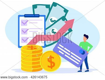 Flat Style Vector Illustration. Successful Businessman With Multiple Profits. Successful Investor Or