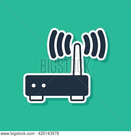 Blue Router And Wi-fi Signal Icon Isolated On Green Background. Wireless Ethernet Modem Router. Comp