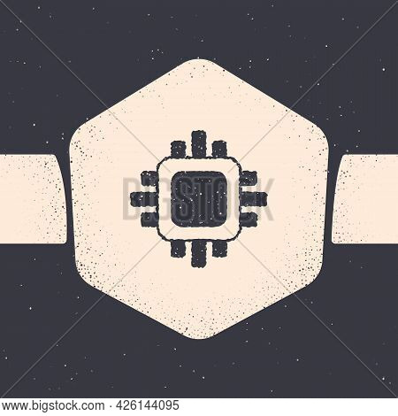 Grunge Computer Processor With Microcircuits Cpu Icon Isolated On Grey Background. Chip Or Cpu With