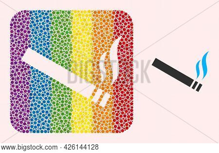 Dot Mosaic Cigarette Smoke Hole Pictogram For Lgbt. Rainbow Colored Rounded Square Mosaic Is Around