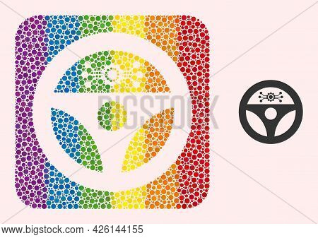 Dot Mosaic Autopilot Carved Pictogram For Lgbt. Rainbow Colored Rounded Rectangle Mosaic Is Around A