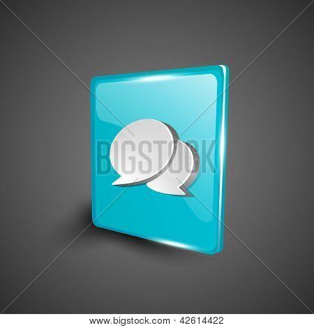 Glossy 3D web 2.0 messenger symbol icon set. EPS 10.