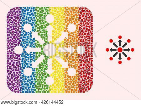 Dotted Mosaic Expansion Carved Icon For Lgbt. Rainbow Colored Rounded Square Mosaic Is Around Expans