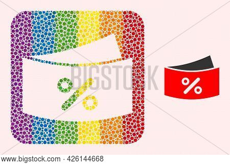 Dot Mosaic Discount Coupones Stencil Icon For Lgbt. Colored Rounded Rectangle Mosaic Is Around Disco