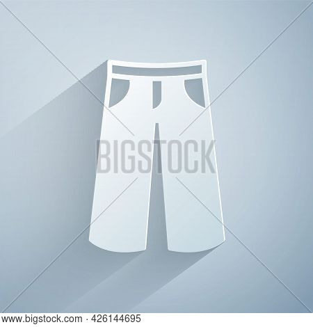 Paper Cut Pants Icon Isolated On Grey Background. Trousers Sign. Paper Art Style. Vector