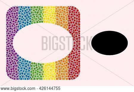 Dotted Mosaic Ellipse Carved Icon For Lgbt. Rainbow Colored Rounded Rectangle Collage Is Around Elli