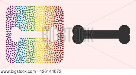 Dot Mosaic Bone Hole Icon For Lgbt. Colored Rounded Square Mosaic Is Around Bone Hole. Lgbt Spectrum