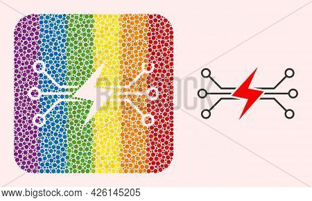 Dot Mosaic Energy Circuit Stencil Pictogram For Lgbt. Rainbow Colored Rounded Square Mosaic Is Aroun