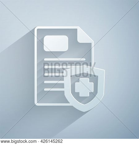 Paper Cut Medical Clipboard With Clinical Record Icon Isolated On Grey Background. Prescription, Med