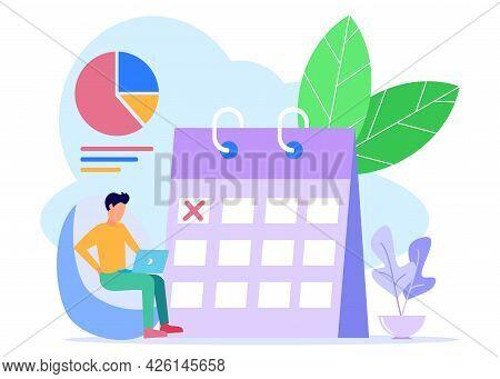 Modern Vector Illustration. Work Teams Create Online Schedules On Tablets. Graphic Design Scheduling