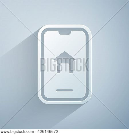 Paper Cut Online Real Estate House On Smartphone Icon Isolated On Grey Background. Home Loan Concept