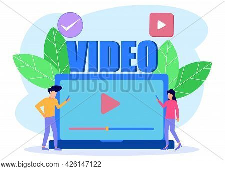 Modern Vector Illustration. Create And Play Videos, Vlogers Share Bradcasts On Blogs Or Video Logs.