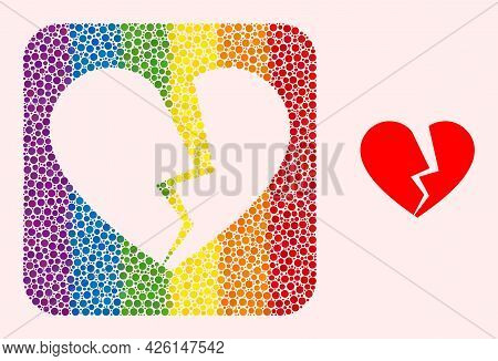 Dot Mosaic Broken Love Heart Subtracted Pictogram For Lgbt. Multicolored Rounded Rectangle Mosaic Is