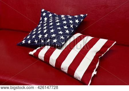 American Flag Design Pillow. Usa Flag Throw Pillow. Patriotic Concept