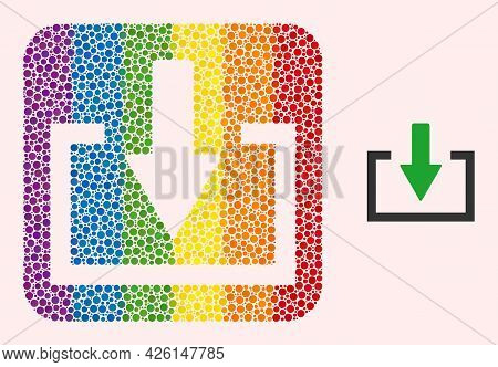 Dot Mosaic Download Subtracted Icon For Lgbt. Color Rounded Square Mosaic Is Around Download Subtrac