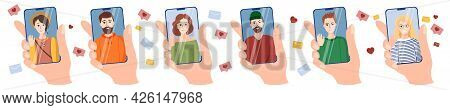 A Large Set Of Illustrations, Icons On The Topic Of Video Calls Of Friends. Young Girls And Men On S
