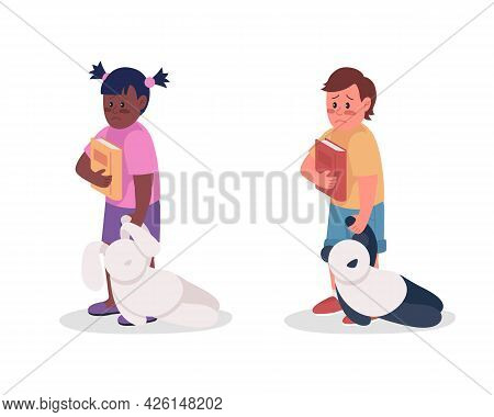 Upset Children Semi Flat Color Vector Character Set. Standing Figure. Full Body People On White. Anx