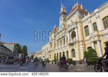 Ho Chi Minh, Vietnam - Oct 17, 2019 : The People\'s Committee Of Ho Chi Minh City With Blue Sky In H