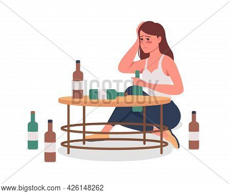 Alcoholic Girl Semi Flat Color Vector Character. Hangover Person. Sitting Figure. Full Body Person O