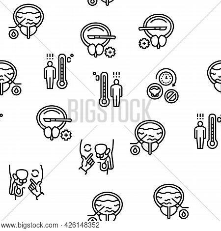 Prostatitis Disease Vector Seamless Pattern Thin Line Illustration