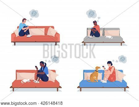 Lonely Teenage Boy And Girl Semi Flat Color Vector Character Set. Sitting Figures. Full Body People