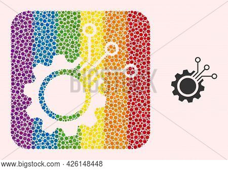 Dot Mosaic Electronic Gear Stencil Icon For Lgbt. Colored Rounded Rectangle Mosaic Is Around Electro