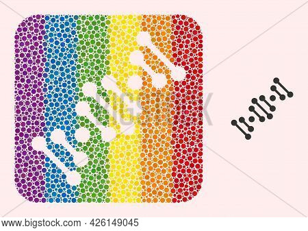 Dot Mosaic Genome Code Stencil Pictogram For Lgbt. Colored Rounded Rectangle Collage Is Around Genom