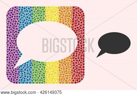 Dotted Mosaic Forum Message Carved Pictogram For Lgbt. Multicolored Rounded Square Mosaic Is Around