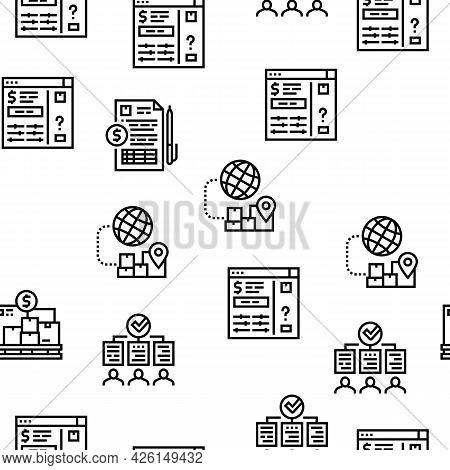 Procurement Process Vector Seamless Pattern Thin Line Illustration