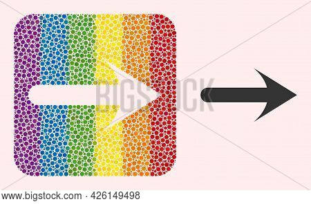 Dot Mosaic Forward Arrow Subtracted Pictogram For Lgbt. Rainbow Colored Rounded Square Mosaic Is Aro