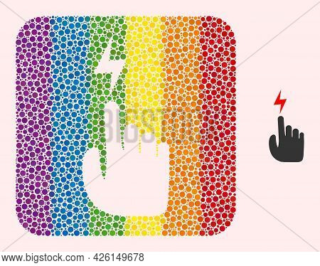 Dot Mosaic Electric Hand Subtracted Pictogram For Lgbt. Color Rounded Rectangle Collage Is Around El