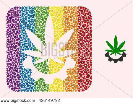 Dotted Mosaic Cannabis Industry Subtracted Icon For Lgbt. Rainbow Colored Rounded Square Mosaic Is A