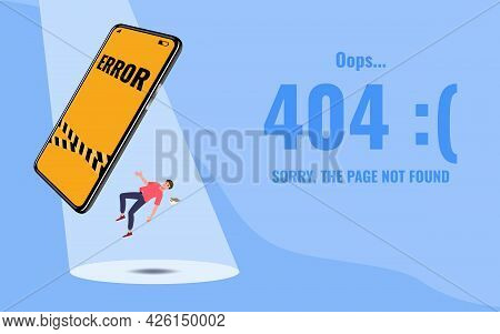 Flat Error 404 Sign Layout Yellow Screen On A Mobile Phone With A Man Floating In The Air And Text S