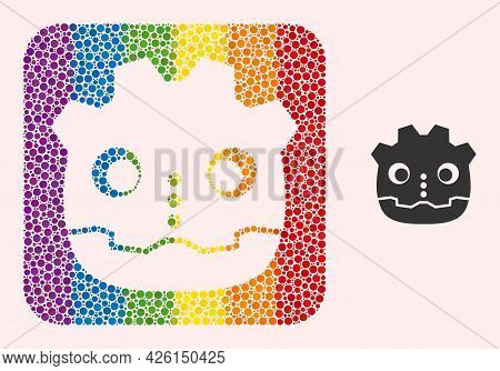 Dot Mosaic Robot Head Carved Pictogram For Lgbt. Color Rounded Square Mosaic Is Around Robot Head Ca