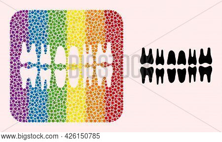 Dotted Mosaic Teeth Jaw Hole Icon For Lgbt. Rainbow Colored Rounded Rectangle Collage Is Around Teet