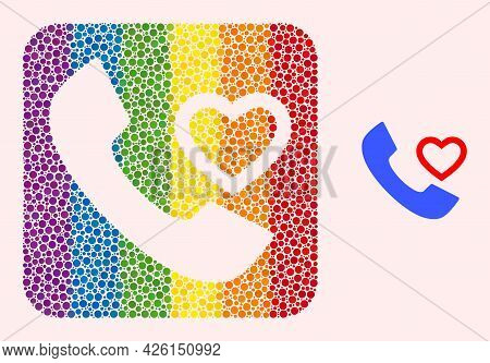 Dot Mosaic Love Phone Receiver Hole Pictogram For Lgbt. Multicolored Rounded Rectangle Mosaic Is Aro