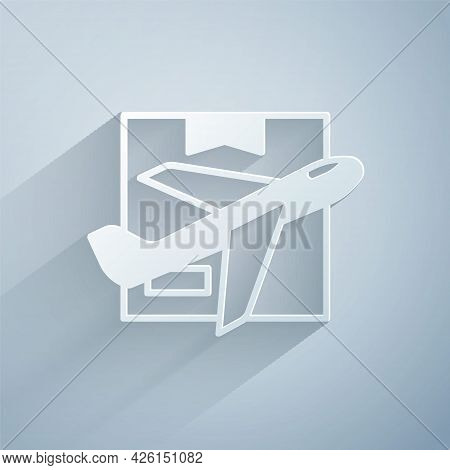 Paper Cut Plane And Cardboard Box Icon Isolated On Grey Background. Delivery, Transportation. Cargo