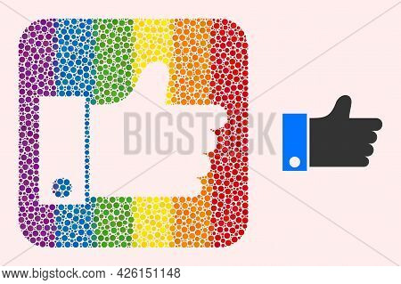 Dot Mosaic Thumb Up Stencil Pictogram For Lgbt. Multicolored Rounded Square Mosaic Is Around Thumb U