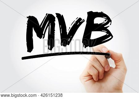 Mvb - Minimum Viable Brand Acronym With Marker, Business Concept Background