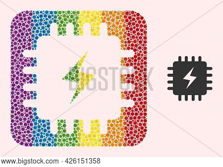 Dotted Mosaic Power Chip Stencil Icon For Lgbt. Colored Rounded Rectangle Mosaic Is Around Power Chi