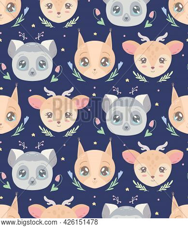 Cute Childish Pattern With Heads Of Animal And Flowers On Blue Background. Vector Texture With Lemur