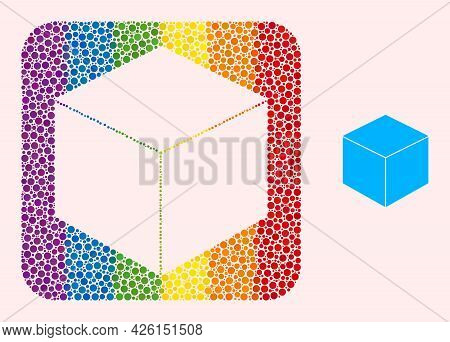 Dot Mosaic Sugar Cube Stencil Pictogram For Lgbt. Rainbow Colored Rounded Rectangle Mosaic Is Around