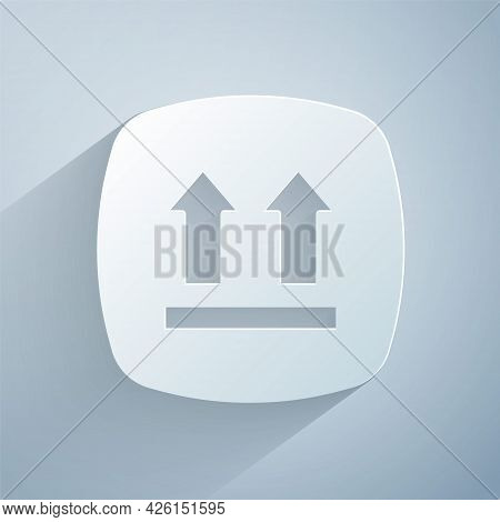 Paper Cut This Side Up Icon Isolated On Grey Background. Two Arrows Indicating Top Side Of Packaging