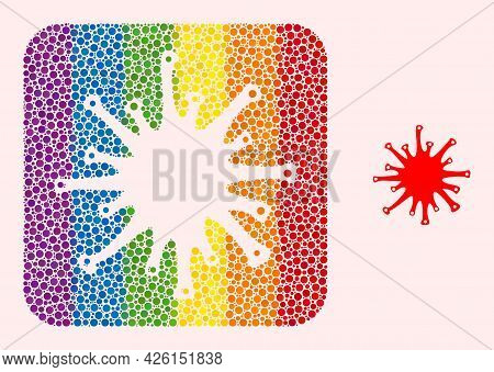 Dotted Mosaic Sars Virus Carved Pictogram For Lgbt. Rainbow Colored Rounded Square Collage Is Around