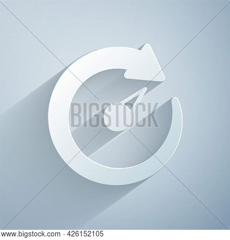 Paper Cut Digital Speed Meter Icon Isolated On Grey Background. Global Network High Speed Connection