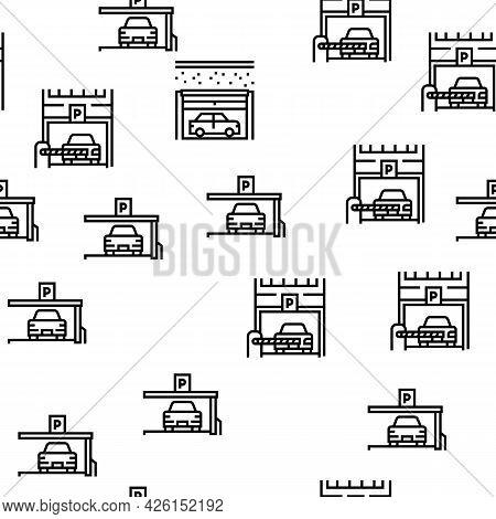 Underground Parking Vector Seamless Pattern Thin Line Illustration