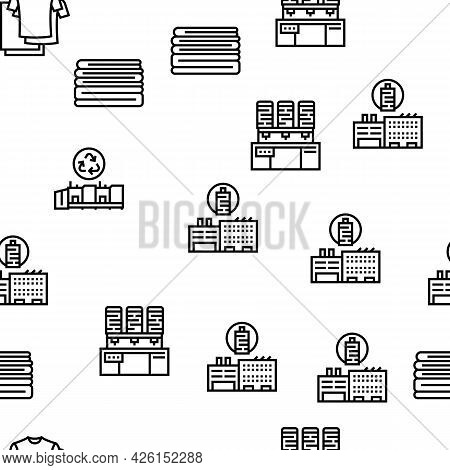 Textile Production Collection Icons Set Vector. Silk Thread And Clothing Textile Production, Sewing