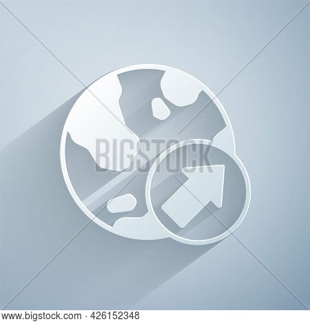 Paper Cut Financial Growth Increase Icon Isolated On Grey Background. Increasing Revenue. Paper Art